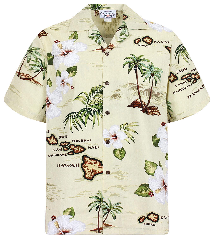 PLA Original Camicia Hawaiana Isole Island Beige