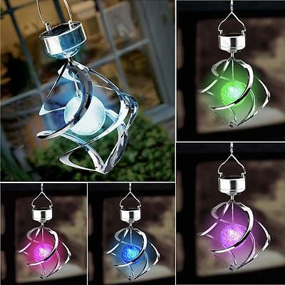 Solar Powered Color Changing Wind Spinner LED Light Garden Yard Decorate Lamp