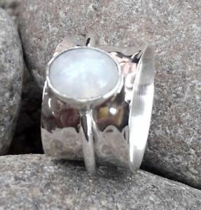 RAINBOW-MOONSTONE-925-STERLING-SILVER-BAND-SPINNER-RING-JEWELRY-ALL-US-SIZE-A6