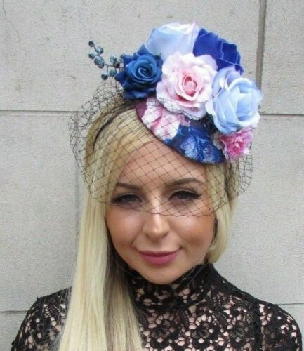 Black Light Pink Royal Blue Rose Birdcage Veil Flower Fascinator Hat Races 5765