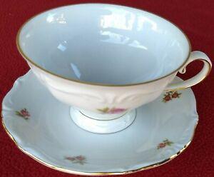 Vintage Bavaria Cup #28 + Saucer #17 Winterling Rosebud Roses Western Germany
