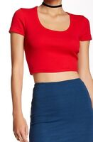 American Apparel Baby Rib Crop T-shirt Cropped Tee Cherry Red 4380 Large