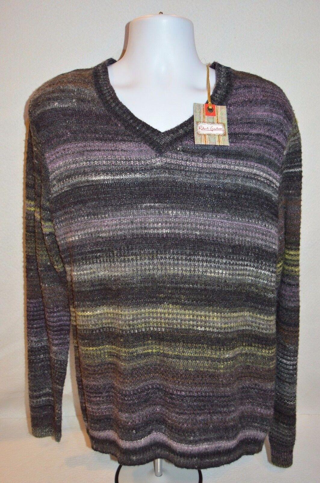 ROBERT GRAHAM Man's HUNTINGDON Space Dyed Sweater NEW Size Medium Retail