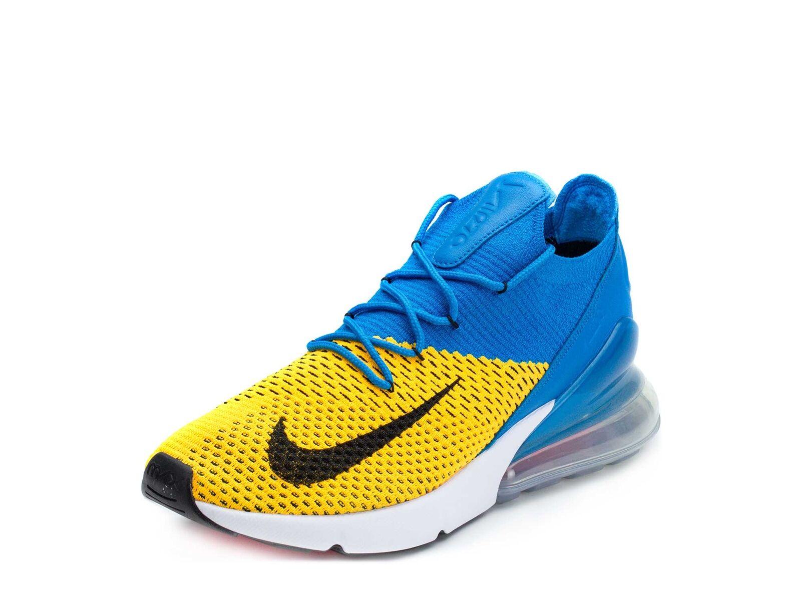 Nike Mens Air Max 270 Flyknit Laser orange bluee AO1023-800