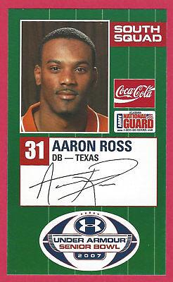 AARON ROSS 2007 SENIOR BOWL TEXAS LONGHORNS UT ROOKIE CARD NEW YORK GIANTS RC