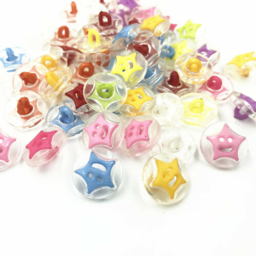 100pcs DIY Round Smiley stars Mix color Sewing Scrapbooking Resin buttons 14mm