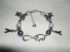 Fibromyalgia Fibro eternal HOPE butterfly awareness ribbon charm bracelet