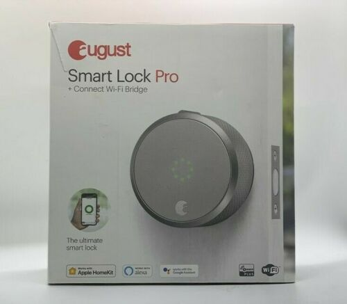 Silver AUGUST Smart Lock Pro with Connect Wi-Fi Bridge