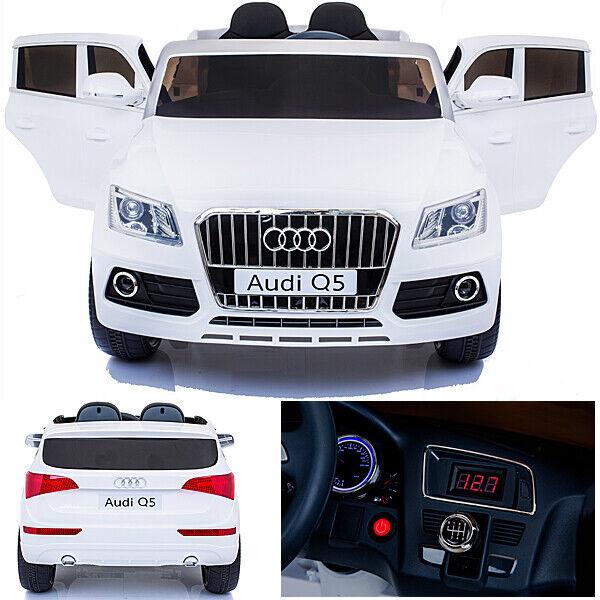 Audi Q5 Quattro Auto Bambino Vettura per Elettrica 2x Motori 12v Bianco