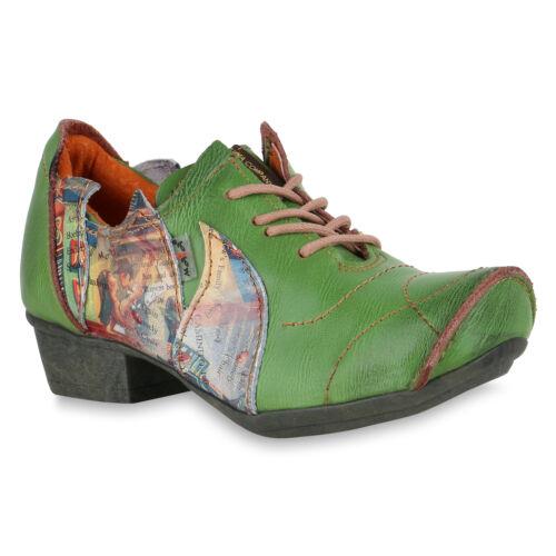 TMA  Damen Halbschuhe Leder Vintage Schuhe Schnürer 826070 Trendy Neu