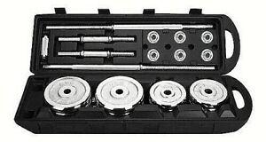 Set-Valigetta-Manubri-Bilanciere-50Kg-Chrome-Dumbbell-Silver-Pesi-Palestra-Gym