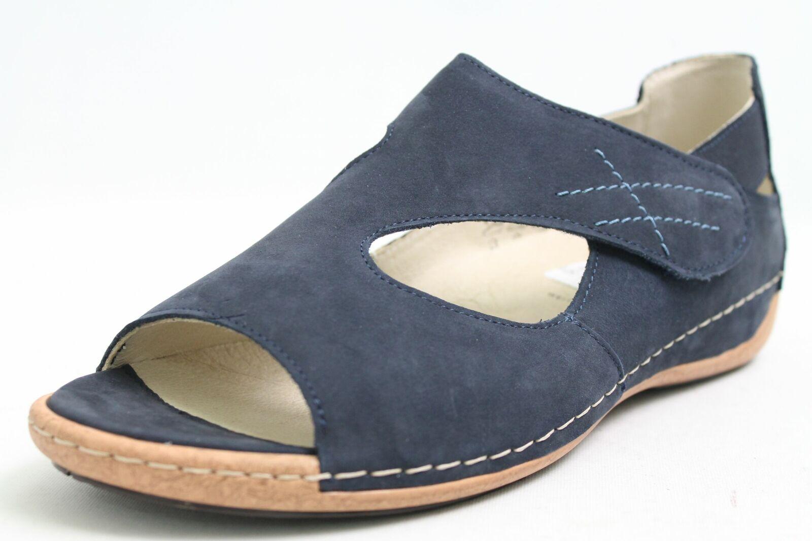 Waldläufer Schuhe blau echt Nubuk Leder Klettverschluss Schuhweite H
