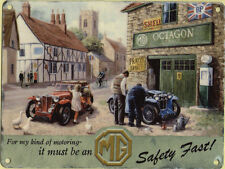 New small 15x20cm MG GARAGE vintage enamel style tin metal advertising sign 8x6""