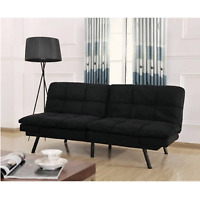 Futon Sofa Couch Bed Sleeper Memory Foam Black Convertible Living Room Furniture