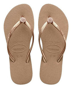 2656961cf8c746 Havaianas Women`s Flip Flops Slim Crystal Poem Rose Gold   Metallic ...