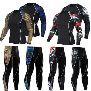 Mens-Sports-Workout-Running-Jogging-Gym-Sets-Compression-Spandex-Dri-fit-Tights