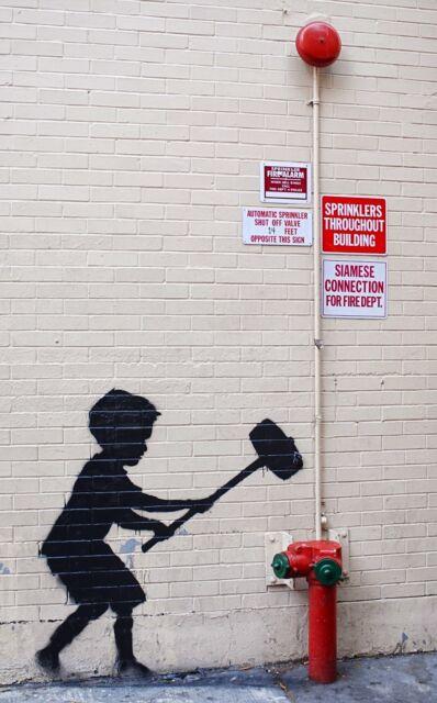"Banksy, Hammer Boy, 10""x16"", Graffiti Art, Canvas Print"