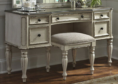 New Magnolia Traditional 5-Drawer Bedroom Vanity w/Fluted Legs in Antique  White 842994102601 | eBay
