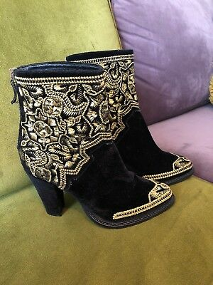 Gold Velvet Ankle Zara 5 38 Rare Cowboy Boots Basic Embroidered 5Iq5tHw4x