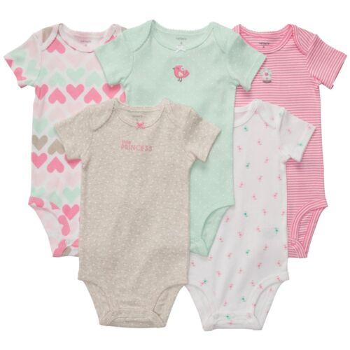 Carter/'s 5 Pack Short Sleeve Princess Bodysuits Set Girls 6 9 months NEW NWT