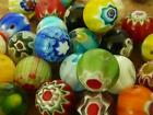 40 pce Vibrant Multi-Coloured Round Millefiori Glass Beads 10mm