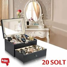 Watch Box Mens 20 Case Glass Top Jewelry Leather Organizer Black