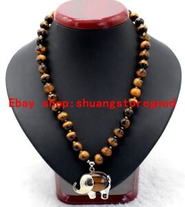 New-8mm-Natural-Yellow-Tiger-039-s-Eye-Gemstone-Elephant-Pendants-Necklace-18-039-039-AAA