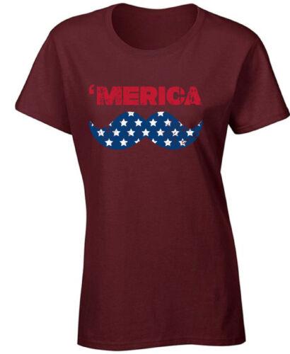 Merica USA Flag Women/'s T shirt Tops Mustache America USA 4th of July