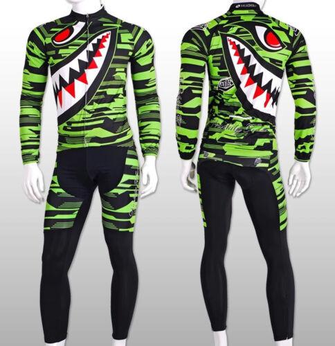Shark Men/'s Bike Club Long Sleeve Tops Cycling Jersey Set  Sports Wear Suit
