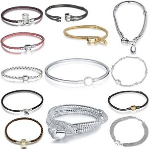 Snake-Chain-Bracelets-Bangle-Buckle-with-Logo-Fit-European-925-Silver-Bead-Charm