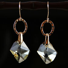 Rose Gold Champagne Cosmic Crystal Drop Earrings Gold Plated 925 Silver