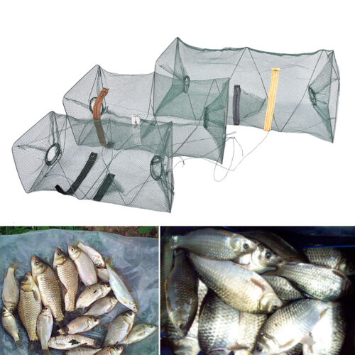 Fishing Bait Trap Cast Dip Net Cage Crab Fish Minnow Crawdad Shrimp Foldable FT