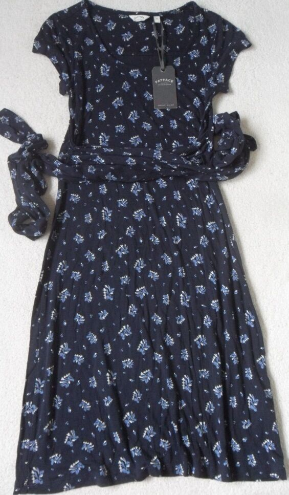 EX FAT FACE WRAP ROUND TIE WAIST SASH PETAL DITSY PRINT VISCOSE SHIFT DRESS  6