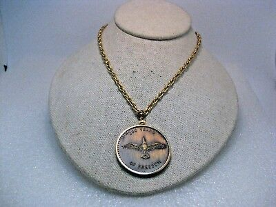 long NEW Gold Tone Eagle Necklace and Pendant Vintage Polished 18 in