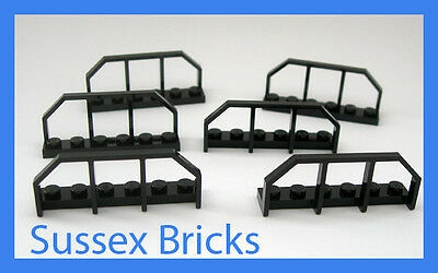 Lego 6x Black Train Wagon End Fence Hand Rail 1x6 6583 Brand New Pieces