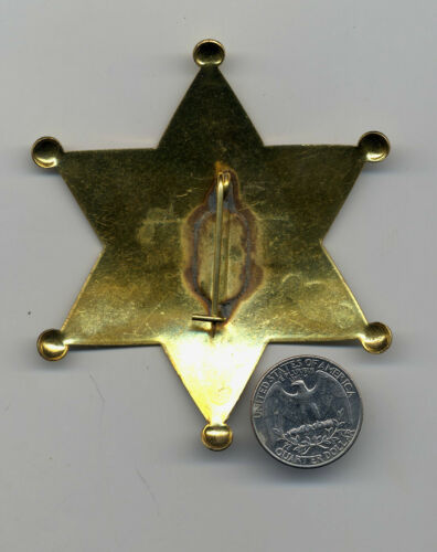 """US Marshal Sheriff Badge Old West Brass Star County Law 3.5/"""" Deadwood Tombstone"""