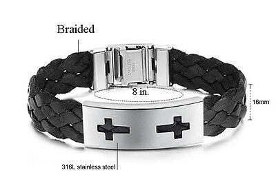 Unisex Black or Brawn Braided Bracelet for Men and Women with One or Two Crosses