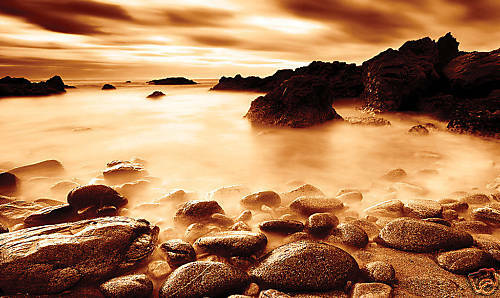 LARGE CANVAS ART WALL PICTURE BROWN PEACH SEASCAPE A1
