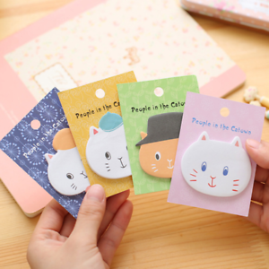 Sweet Cat Head Animal Shape Bookmaker Sticky Notes Sticker Portable Memo Notepad