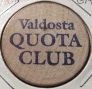 Vintage Valdosta Ga Quota Club Wooden Nickel Token Georgia