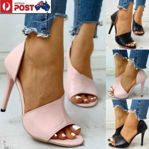 Details about Women Party Dress Shoes Peep Toe High Heel Pumps Cut Out Stiletto Sandals Size