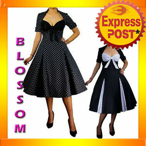 RK39-Pleated-Polka-Dot-Rockabilly-Retro-Flared-Dress-Pin-Up-Swing-50s-40s-Retro