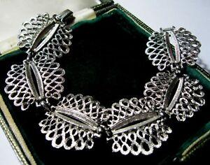 VINTAGE-Jewellery-Signed-CORO-Silver-Tone-Wide-Modernist-Link-7-5-034-Bracelet