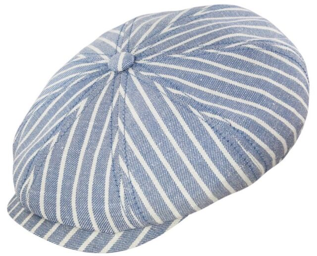 81b485fe STETSON GERMANY M HATTERAS STRIPE LINEN NEWSBOY BLUE IVORY CAP HAT 8/4 57CM