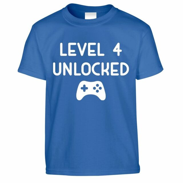 Level 4 Unlocked Childs 4th Birthday Gamers T Shirt Video Game Anyage 158