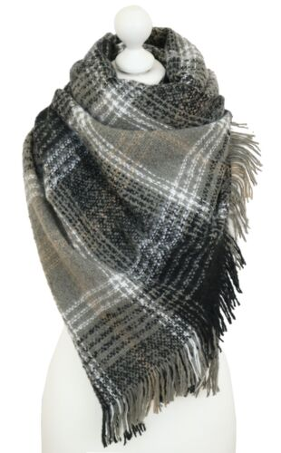 Ladies Tartan Blanket Scarf Wrap Shawl Black Plaid Checked Weekend Wardrobe Wear