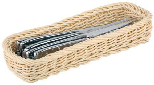 Besteck Behälter Korb Buffetkorb rechteckig lang Beige geflochten Gastlando