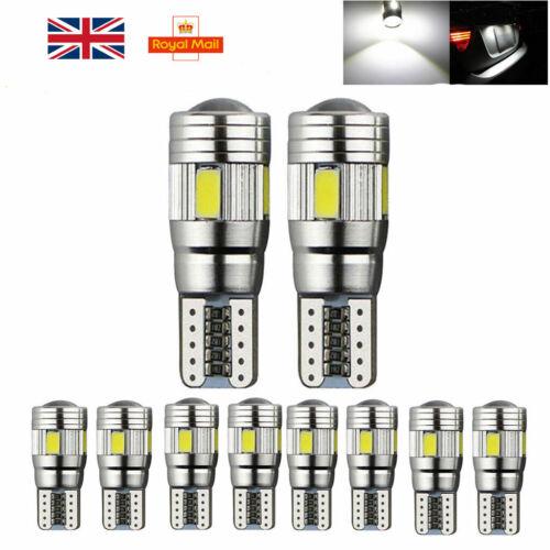 2Pcs T10 501 W5W Car Sidelight Bulb Error Free Canbus 6SMD LED Xenon White Lamp