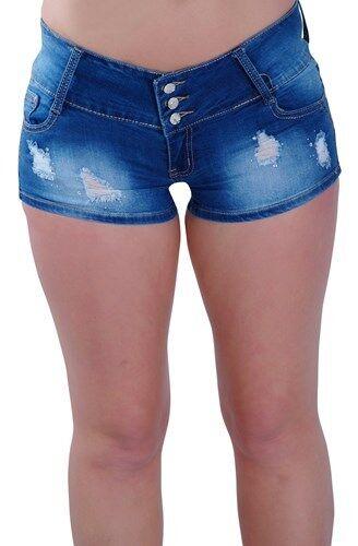 Da donna EXTRA MINI MICRO Denim Jeans skinny fit stretch signore pantaloncini