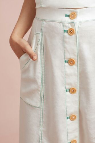 12 Details about  /Anthropologie Women's Linen Blend Button Front A-Line Off White Midi Skirt